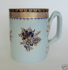 "Vintage Italian Mug VASE, Blue (Pale/Sapphire) and Gold, Braided Handle, 5"" Tall"