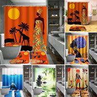 4Pcs Bathroom Set Non-Slip Rug + Toilet Lid Cover + Bath Mat + Shower Curtain