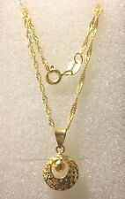 """Solid 18k Yellow Gold Singaporean Chain Necklace Round Pendant 18"""" 1.8 Grams"""