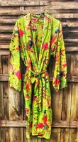 Oversize Cotton Kaftan Caridgan Open Top Kimono Frida Kahlo Bird Bathrobe Beach