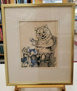 Louis Wain SIGNED Original Ink Drawing Kittens Tea Time w Gallery Marks Framed