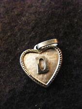 Ciondolo Cuore Medaglione in argento placcato Lettera D 1,5 cm