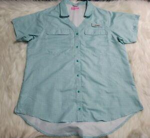 Habit Women Large Short Sleeve Fishing Snap-Front Shirt Solar Factor Green U3