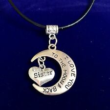 Antique Silver Plt 'I Love You To The Moon & Back Sister' Necklace Pendant Gift