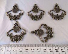 5 x Antique Bronze Tone Flower Cabochon settings Pendants Charms 40 x 35mm
