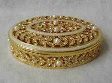 LOT OF 12 Jewelry Box Pewter / Gold with pearls