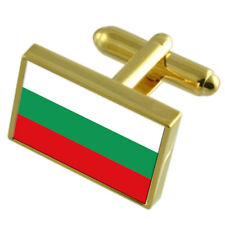 Bulgaria Gold-Tone Country Flag Cufflinks Select Gift Pouch