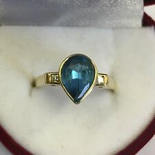 Solid 14k 14ct Gold Pear Shaped Blue Topaz Ring Diamond Set Shoulders Size N