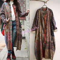 Chinese Folk Qipao Casual Womens Long Floral Dress Trench Outdoor Maix Coat 2016