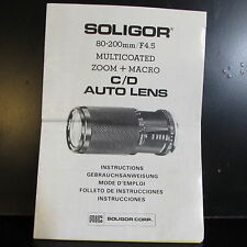 Soligor 80-200mm F4.5 Multi-Enveloppé Zoom + Macro C/D Auto Verres Owner Manuel