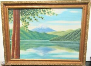 M.SI FUJI MOUNTAIN JAPAN COAST LINE ORIGINAL OIL ON CANVAS PAINTING