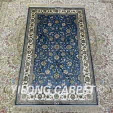 YILONG 2.5'x4' Blue Floral Handknotted Silk Carpet Home Indoor Area Rug H161B