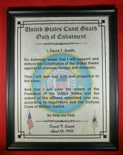 Mc-Nice: Oath of Enlistment Certificate Coast Guard Name & Date Personalized