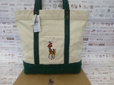 RALPH LAUREN Tote Bag Ladies Large Shoppers Handbag NGreen Cotton Bags New R£115