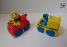 1993 Tyco Playtime Sesame Street Big Bird Tow Truck & Cookie Monster School Bus