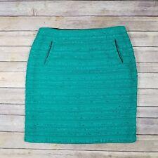 Halogen Petite Women's Size12P Green Woven Lined Straight Skirt