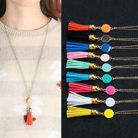 BohoName Frauen Halskette mit Tassel Lange Kette Anhänger Acrylfreie Disc