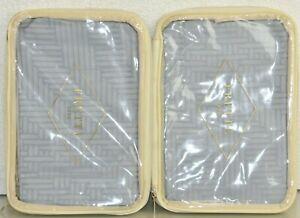 NEW Frette 2 PC SET of EURO SHAMS Rattan Arredo  Grey Light Blue Geometric Sham
