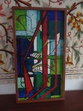 """Vintage Mid Century 1967 Prison Art Guy Norris Abstract Painting """"Prison Dream"""""""
