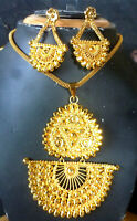 22K Gold Plated Indian Designer Necklace chain earrings pendant party set  b.c
