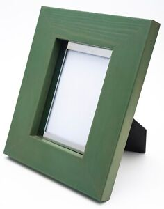 """A Stylish Green Picture/Photo Frame with a chrome insert , Takes image 3""""x5"""""""
