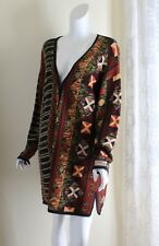 Peruvian Connection  L XL TRIBAL FIBER LONG UNREAL Art-to-Wear Cardigan Sweater