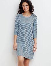 NEW $98 J. Jill Large Sky Blue & Navy Striped Long Sleeve Midi Dress Super Soft