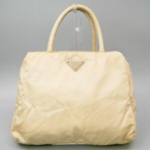 PRADA Nylon Hand Bag Tote Purse Triangle Logo Plate Ivory