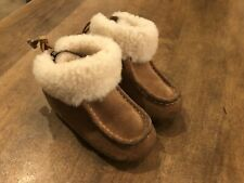 UGG Cali Moccasin Campfire Natural Leather Child Boots Size 9C Excellent