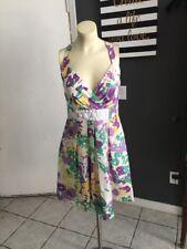 AR Cynthia Steffe Multi Color Silk Floral Beaded Waist Spring Dress Size 4