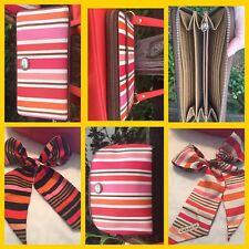 Coach Striped Peyton Wallet Scarf And Cosmetic Bag Set Orange Pink Striped Lot