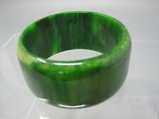 """Vintage Bakelite Bracelet, Marbled Green, Simichrome Polish Tested, 2.5"""" Inside"""