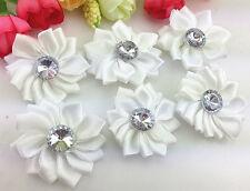 DIY 5/25/50PCS Satin Ribbon Flower with rhinestone Bead Appliques~Craft/Trim