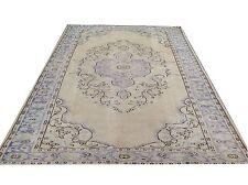 "9'7"" x 6'2"" TAUPE BEIGE PURPLE blue oushak pastel Vintage Overdyed carpet rug"