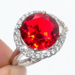 Mozambique Garnet & Cz Gemstone 925 Sterling Silver Jewelry Ring s.Ad T2725