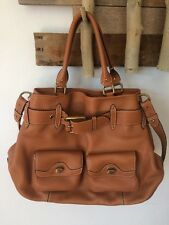 COLE HAAN Leather Beige Camel Belted Medium Handbag Purse Tote Convertible