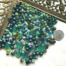 Lot of 200+ Mixed Green Blue Beads Semi Precious Stones & Czech Glass 9mm-28mm