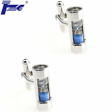 Men Blue Hourglass Cufflinks With Velvet Bag TZG Brand Cuff Links Sand Clock