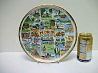 "Vtg Florida State Souvenir PLATE 1960's Ceramic 10.5"" Gold Edge  PLATE Wall"