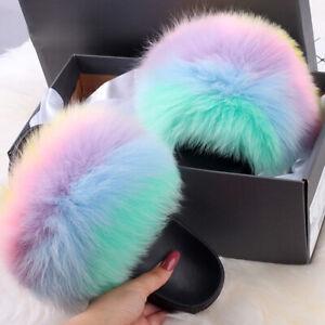 2021 Women Real Fox Fur Slid Slippers Slides Slipper Fluffy Shoes Beach Sandals