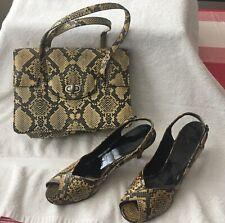 Tan & Black Snake Vintage Peep Toe Heels & Handbag - Mr. Kimel & Lennox - Sz 7