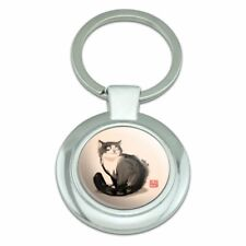 Cat Traditional Chinese Ink Painting Classy Round Chrome Plated Metal Keychain