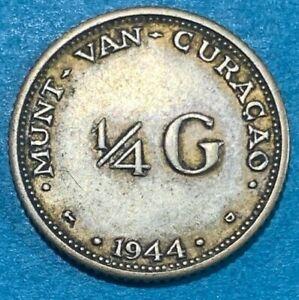 1944 D Curacao (Netherlands Antilles) Quarter 1/4 Gulden 0.640 Silver Coin