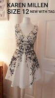 KAREN MILLEN SIZE 12 NEW WITH TAGS DRESS WHITE & BLACK Rrp £160