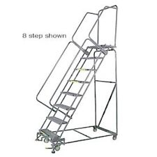 """New! 10 Step 24""""Wx76""""D Stainless Steel Rolling Safety Ladder-Perforated Tread!"""