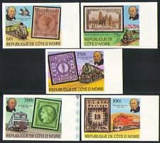 Ivory Coast 1979 Rowland Hill/Steam Trains/Railways/S-on-S  5v set imperf n32119