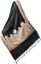 Crewel Embroidered Shawl shades of Gold & Copper on Black Wool Floral Pashmina
