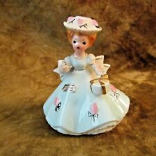 Vtg Josef Originals April Birthday Girl in Blue Gown Holding Present/Black Eyes