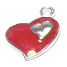 5 PEZZI 13x17mm Heart Lega di Zinco Smalto Ciondolo Ciondoli-a0811