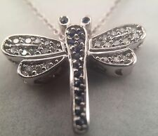 "14K White Gold .20 Carat Diamond Blue Topaz Dragonfly Pendant In 16"" Necklace"